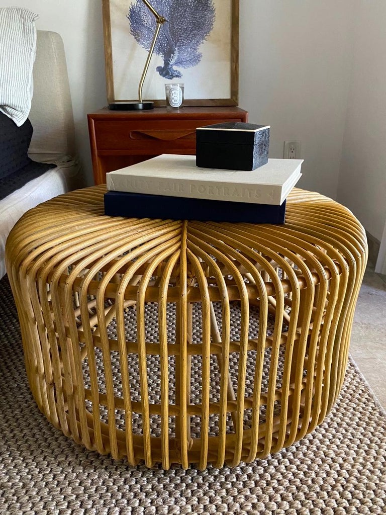 Organic Modern Vintage Bamboo Coffee Table or Ottoman with Geometric, Indonesia, c. 2000 For Sale