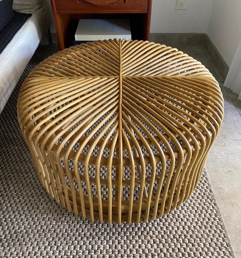 Hand-Crafted Vintage Bamboo Coffee Table or Ottoman with Geometric, Indonesia, c. 2000 For Sale