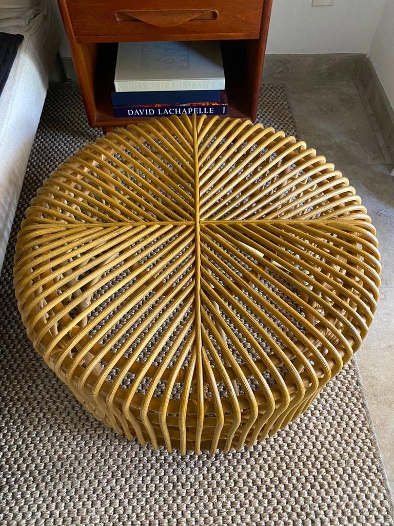 Vintage Bamboo Coffee Table or Ottoman with Geometric, Indonesia, c. 2000 In Excellent Condition For Sale In Fort Lauderdale, FL