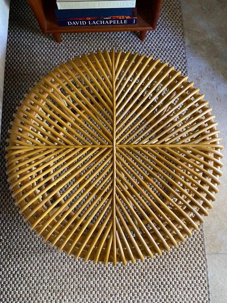 Contemporary Vintage Bamboo Coffee Table or Ottoman with Geometric, Indonesia, c. 2000 For Sale