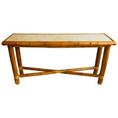 Vintage Bamboo Console Table with Stone Top in the Style of Budji Layug