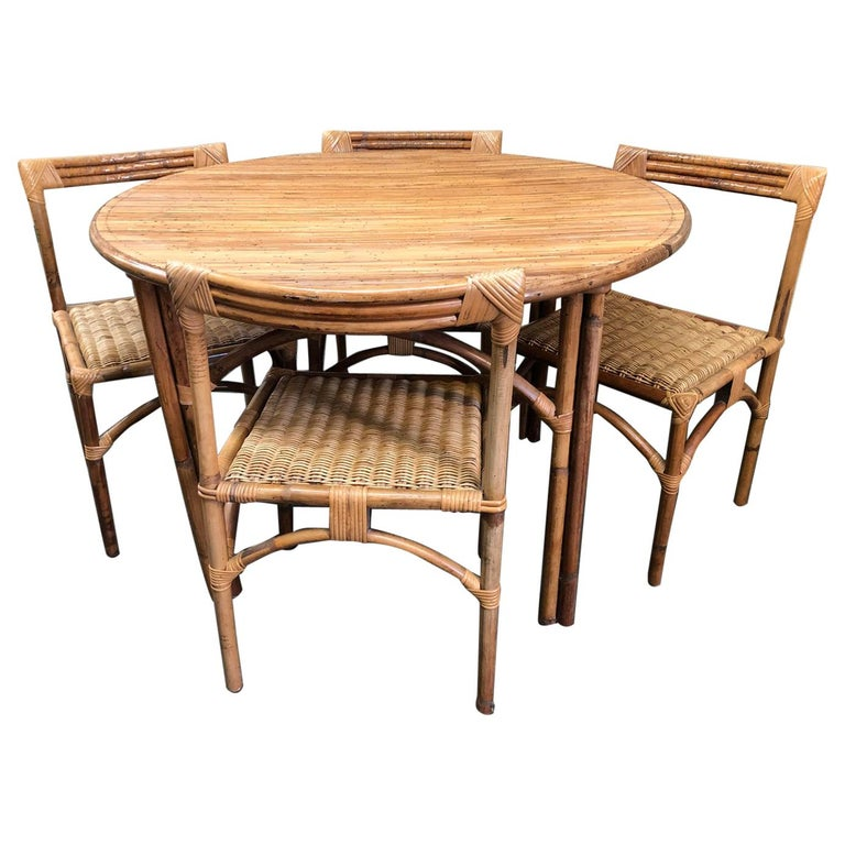 4 Dining Room Chairs For Sale: Vintage Bamboo Dining Table And 4 Chairs, France For Sale