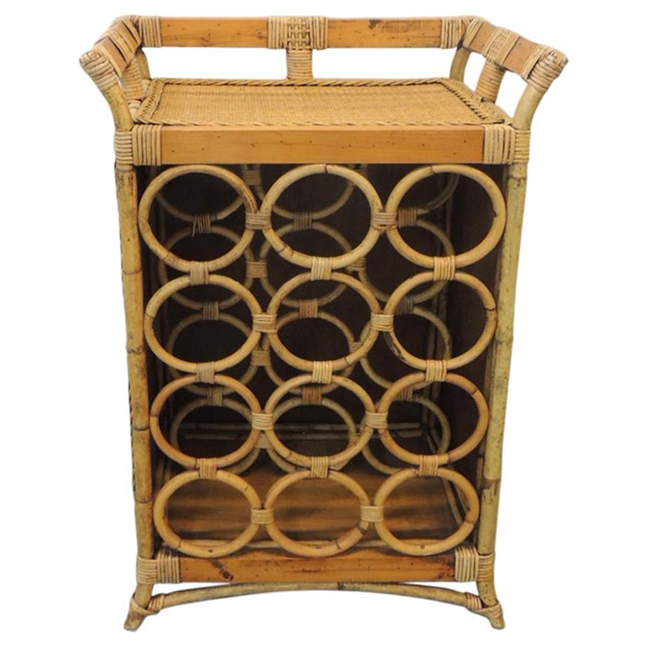 Vintage Bamboo Drinks Cart