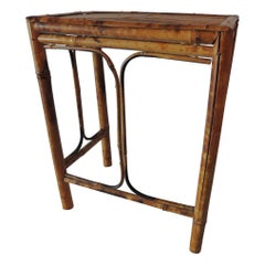 Vintage Bamboo Faux Tortoise Finish Drinks Table