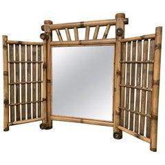 Vintage Bamboo Folding Mirror