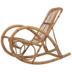 Vintage Bamboo Franco Albini Style Rocking Chair Rocker