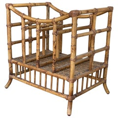 Vintage Bamboo Magazine Rack Stand