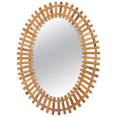 Vintage Bamboo Oval Mirror