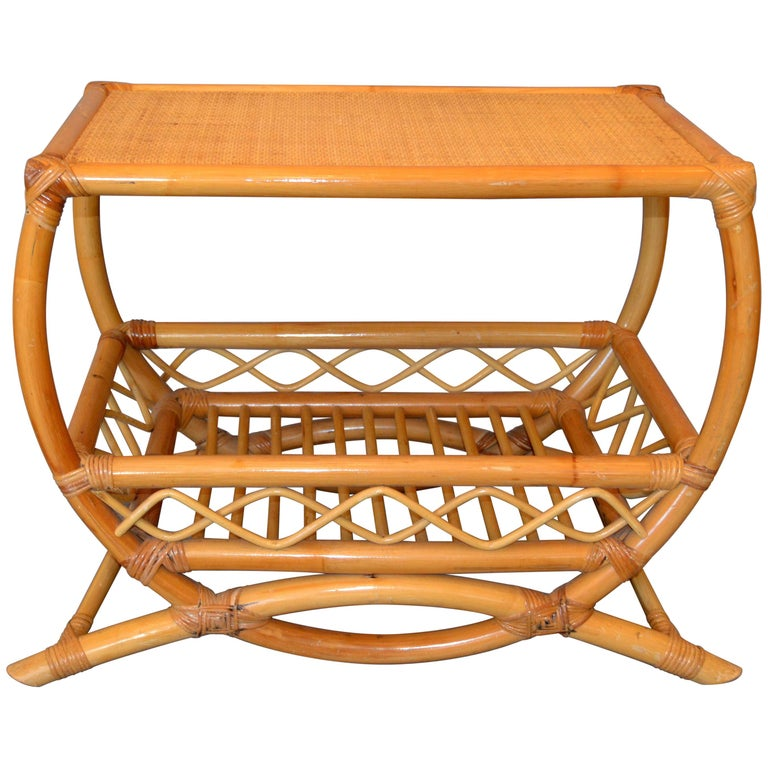 Vintage Bamboo Rattan Side Table With Lattice And Bentwood