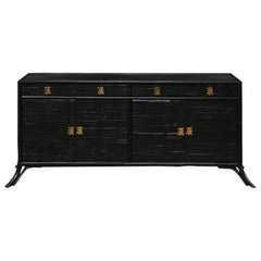 Vintage Bamboo Reed Sideboard Cabinet in Black with Gold Hardware