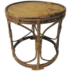 Vintage Bamboo Round Low Side Table