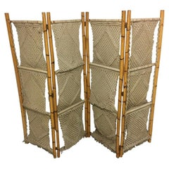 Vintage Bamboo and Seagrass Folding Screen, Italy, circa 1970s