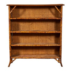 Vintage Bamboo Shelf with Woven Frame
