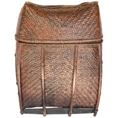 Vintage Bamboo Storage Basket from the Akha of North Thailand, Mid-20th Century