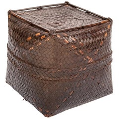 Vintage Bamboo Storage Basket with Lid Lombok, Indonesia, Mid-Late 20th Century