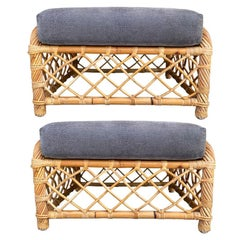 Vintage Bamboo Upholstered Rattan Ottomans A Pair after McGuire or Ficks Reed