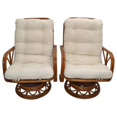 Vintage Bamboo & Wicker High Back Lounge Chair Beige Linen Upholstery, Pair