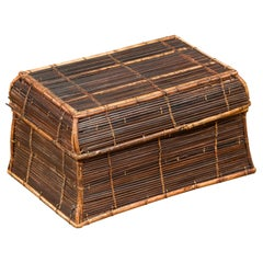 Vintage Banana Leaf Covered and Bamboo Farmer's Basket from the Philippines