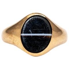 Vintage Banded Agate and 9 Carat Gold Signet Ring