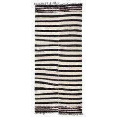 Vintage Banded Kilim Rug 'Flat-Weave'