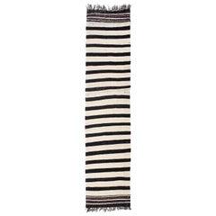 Vintage Banded Kilim Runner 'Flat-Weave'