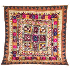 Vintage Banjara Tribal Embroidered Chaakla with Mirrors, Wall Hanging, India