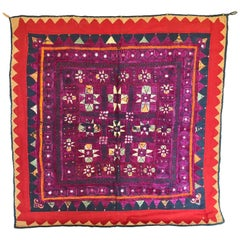 Vintage Banjara Tribal Embroidered Chaakla with Mirrors, Wall Hanging