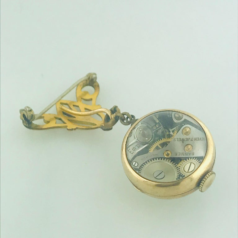 Art Nouveau Vintage Banner 7 Jewel Swiss Watch Pin/Brooch, Skeleton Feature For Sale