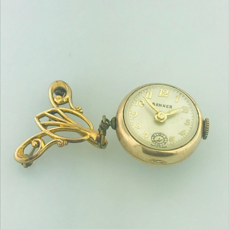 Vintage Banner 7 Jewel Swiss Watch Pin/Brooch, Skeleton Feature In Good Condition For Sale In Austin, TX