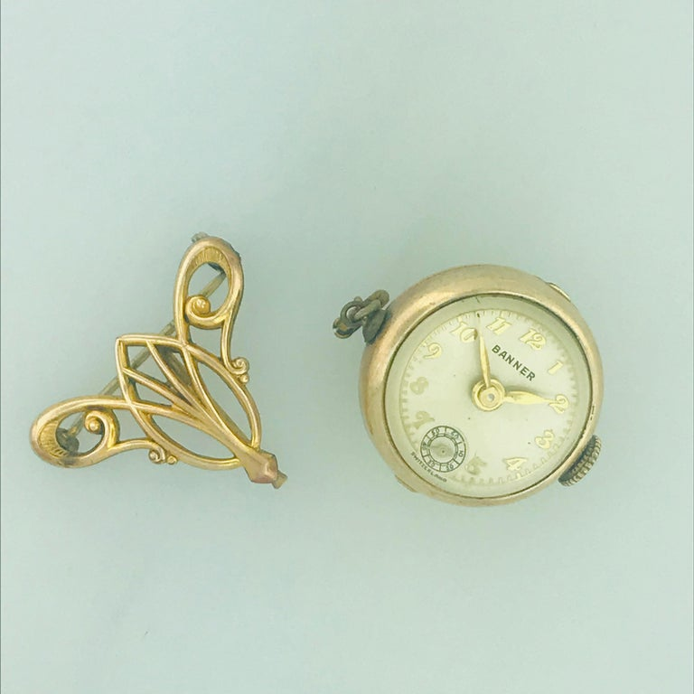 Women's Vintage Banner 7 Jewel Swiss Watch Pin/Brooch, Skeleton Feature For Sale