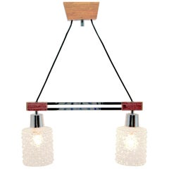 Vintage Bar Chandelier 2-Arms Teak, Chrome and Glass in the Style of Kalmar