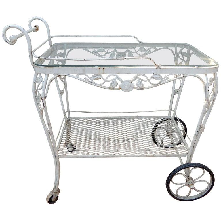 Vintage Bar or Tea Cart Woodard Chantilly Rose Pattern For ...