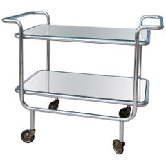 Vintage Bar Trolley in Chromed Steel and Mirrored Glass, France, 1940s