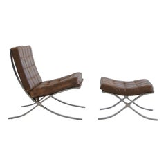 Vintage Barcelona Chair & Footstool by Knoll International, Early 1970s