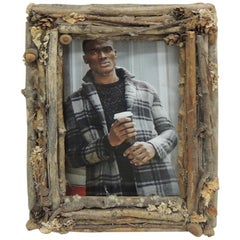 Vintage Bark and Dry Flowers Rustic Picture Frame