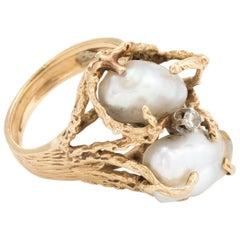 Vintage Baroque Pearl Diamond Ring Naturalistic 14 Karat Gold Estate Jewelry