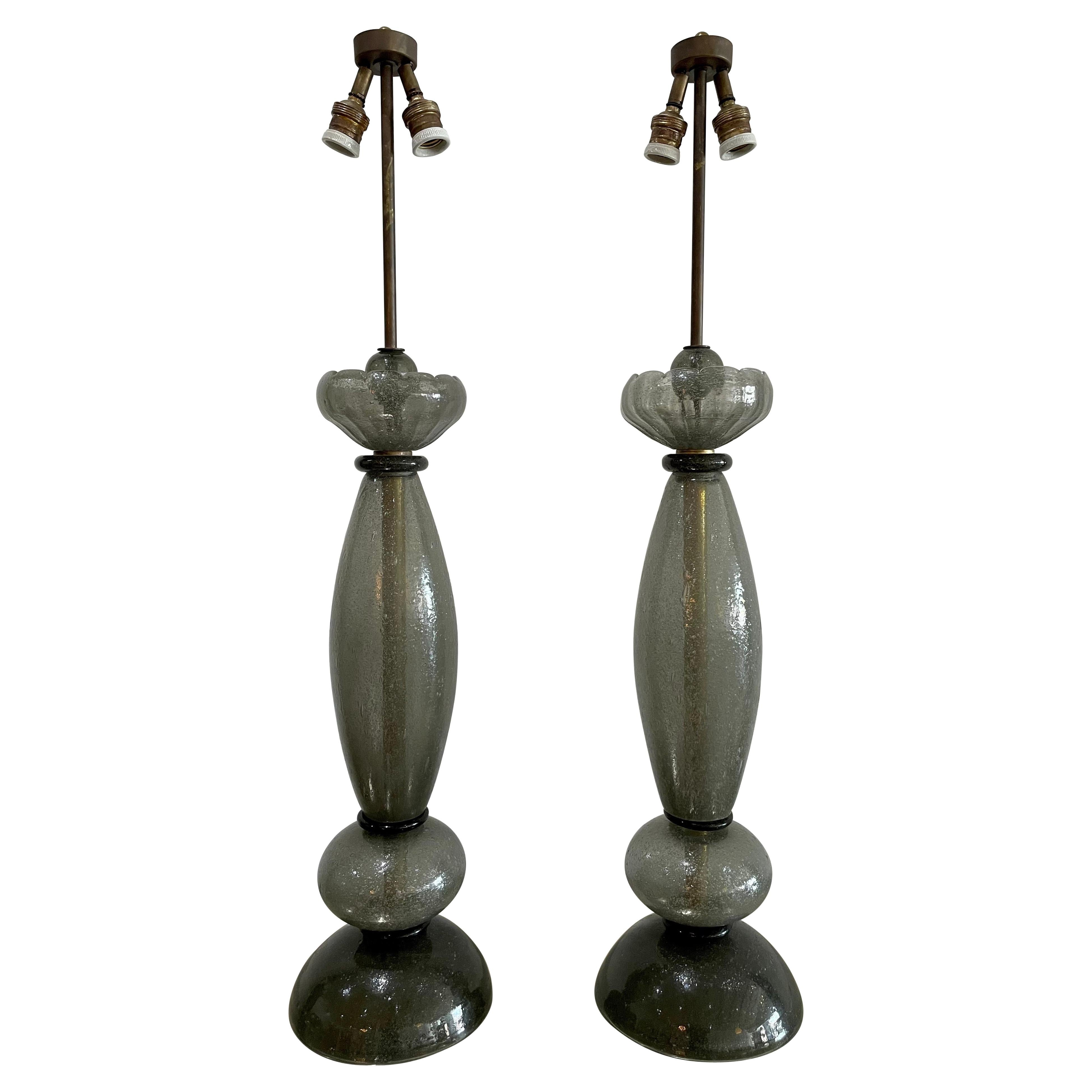 Vintage Barovier e Toso Signed Tall Gray Murano Lamps, Pair