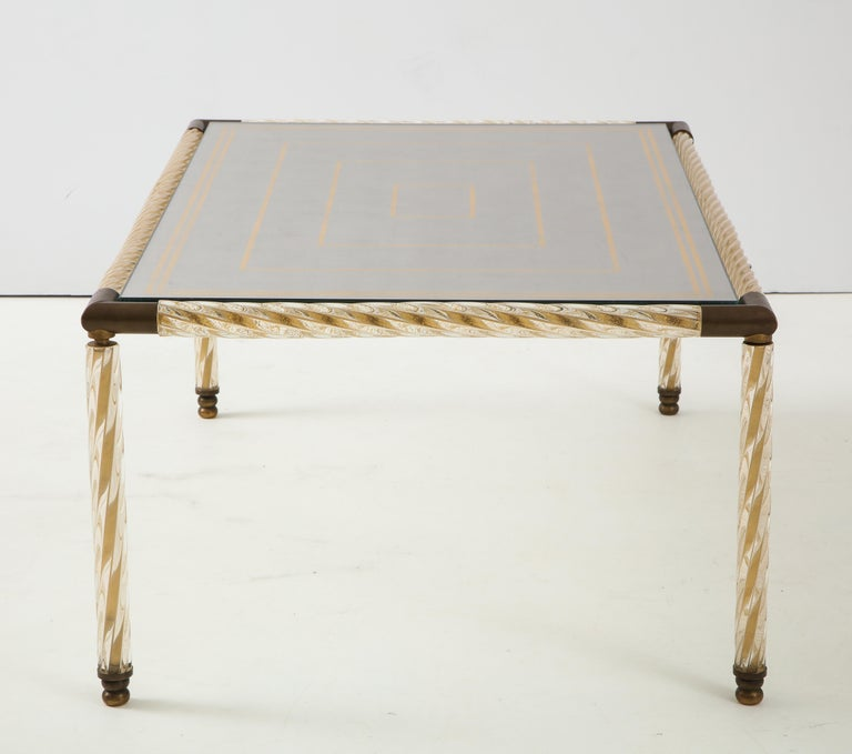 Barovier Murano Glass Coffee  Table with Églomisé Mirrored Top For Sale 4