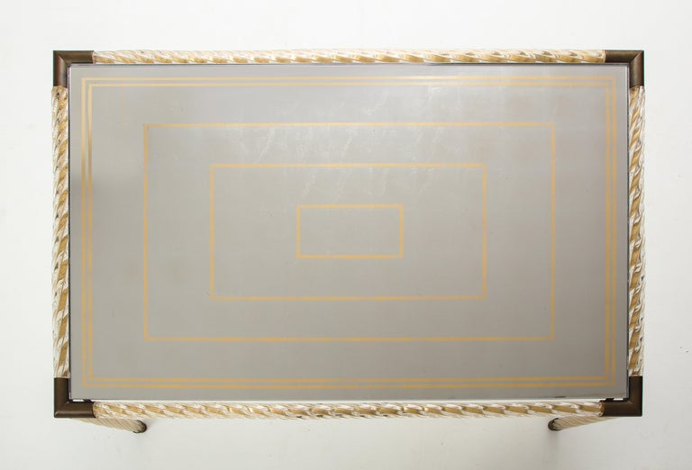 Barovier Murano Glass Coffee  Table with Églomisé Mirrored Top For Sale 5