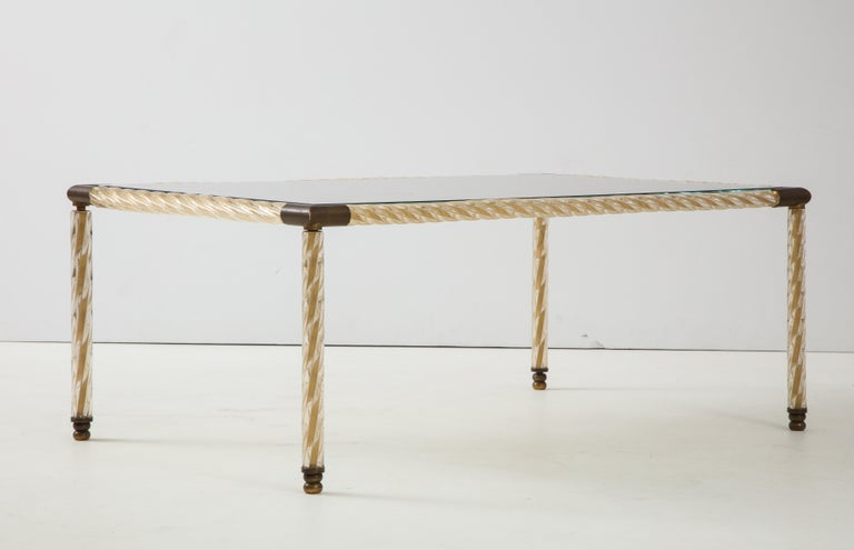 Barovier Murano Glass Coffee  Table with Églomisé Mirrored Top For Sale 6