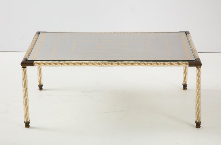 Hollywood Regency  Barovier Murano Glass Coffee  Table with Églomisé Mirrored Top For Sale