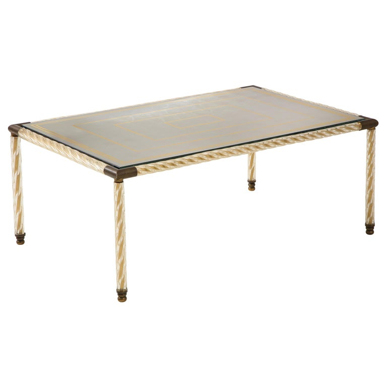 Barovier Murano Glass Coffee  Table with Églomisé Mirrored Top For Sale