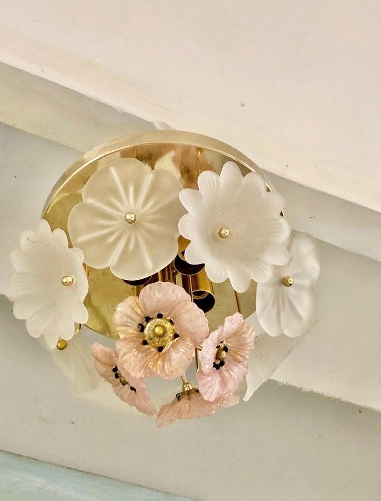 Italian Vintage Barovier Murano Glass Flower Anemone Ceiling Light, Italy, 1970s For Sale