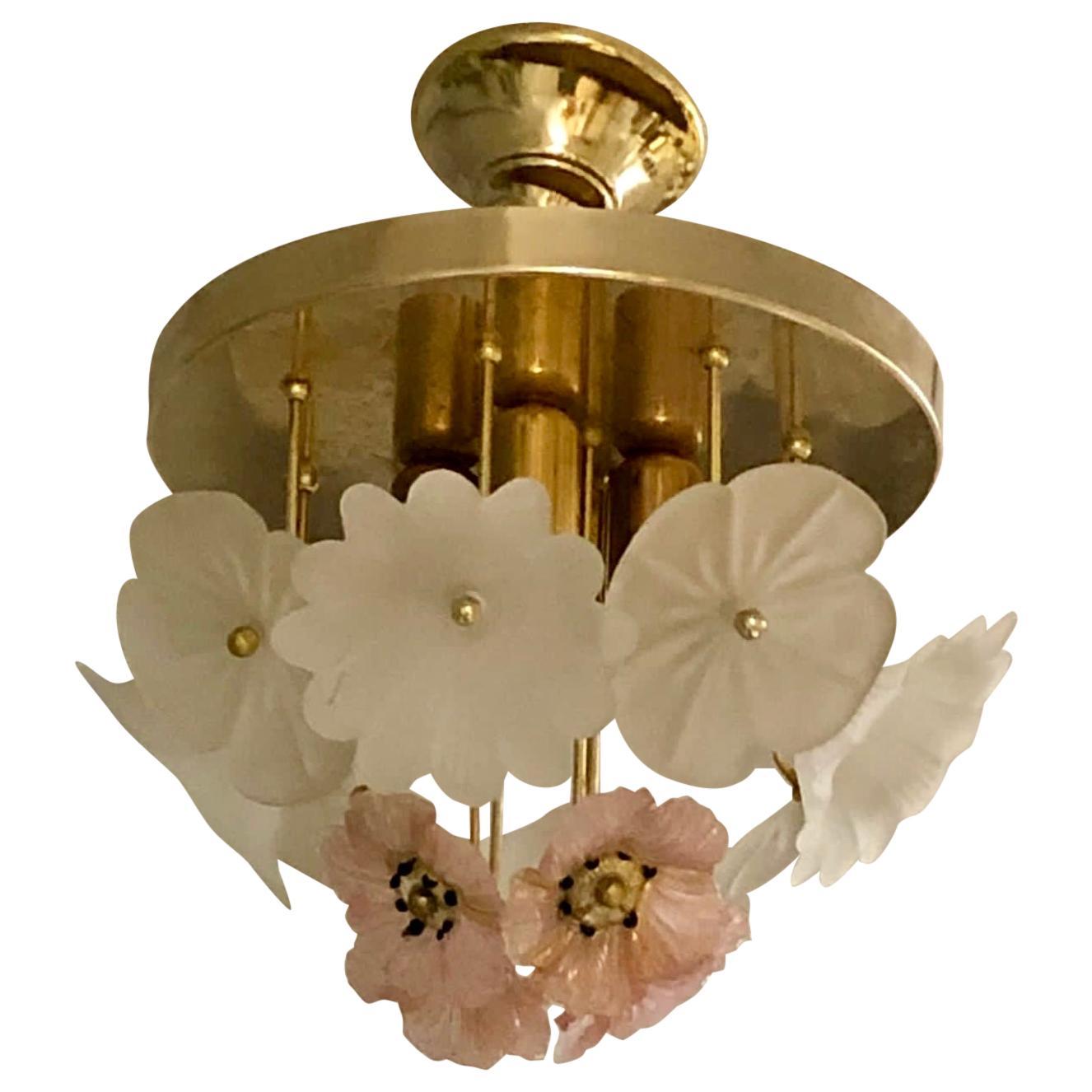 Vintage Barovier Murano Glass Flower Anemone Ceiling Light, Italy, 1970s