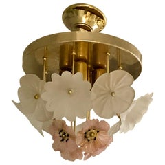 Vintage Barovier Murano Glass Flower Anemone Ceiling Light, Italy, 1970s