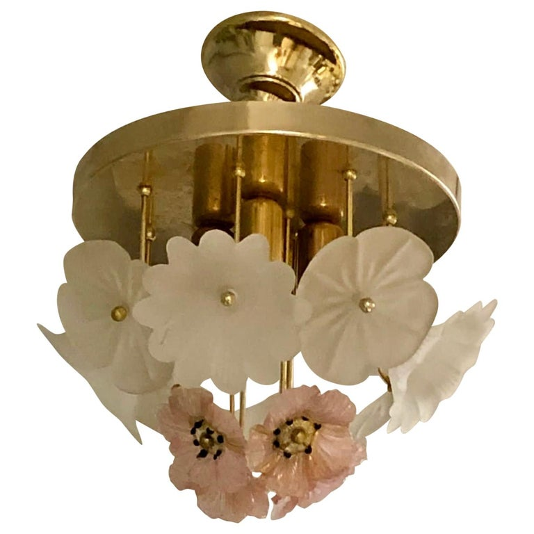 Vintage Barovier Murano Glass Flower Anemone Ceiling Light, Italy, 1970s For Sale