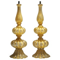 Vintage Barovier & Toso Pair of Gold Glass Italian Murano Table Lamps