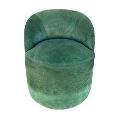 Vintage Barrel Chair Upholstered in Green Suede
