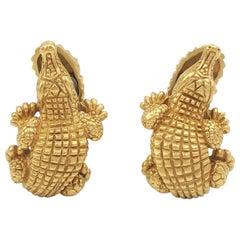 Vintage Barry Kieselstein-Cord Yellow Gold Alligator Earrings