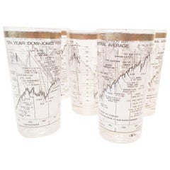 Vintage Barware, Cera Dow-Jones Industrial Average 1958-1968 Highball Glasses